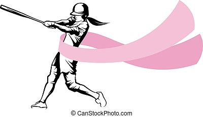 Softball Batter With Breast Cancer Ribbon