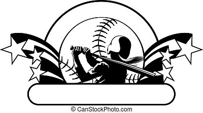 a softball player having just hit the ball. Design features bursting stars, a softball background with out ring and banner for copy.