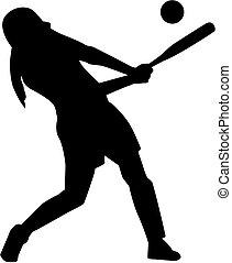 Softball batter woman silhouette