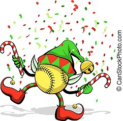 A softball celebrating Christmas by dancing with candy canes, elf ears, hat and ears, and confetti.