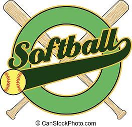 softball, com, rabo, bandeira