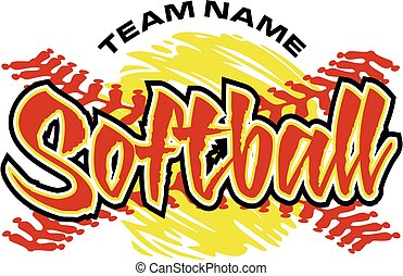 softball design - softball team design with yellow ball and ...