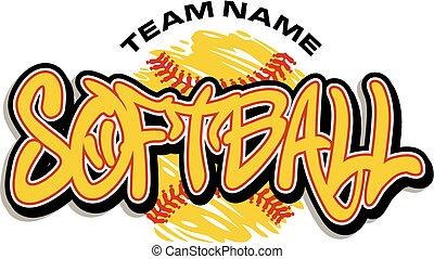 softball team design with yellow ball and red stitches