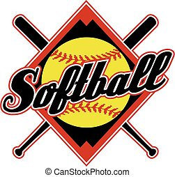 softball design with crossed bats and diamond background