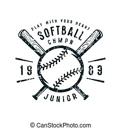 softball, emblem, junior, mannschaft