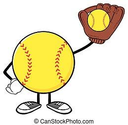 Softball Faceless Player With Ball