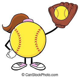 Softball Girl Holding A Ball