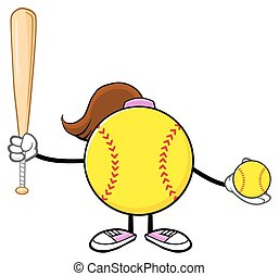 Softball Girl Holding A Bat