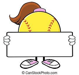Softball Girl Holding A Blank Sign