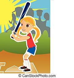 Softball Girl - Young girl playing softball on a sunny day...