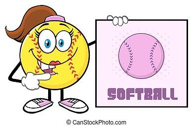 Softball Girl Mascot Character