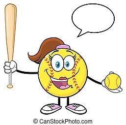 Softball Girl With Speech Bubble