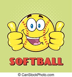 Softball Giving A Double Thumbs Up - Happy Softball Cartoon...