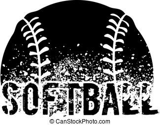 Softball Grunge - silhouette of an a softball with dirt...