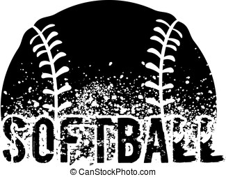 Softball Grunge - silhouette of an a softball with dirt...