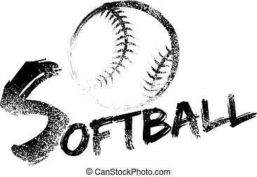 Softball made with a grungy brush swooping through the air over a grunge version of the word softball.
