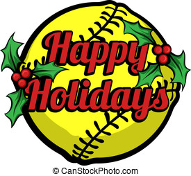 Softball Happy Holidays Stacked - Vector illustration Happy...
