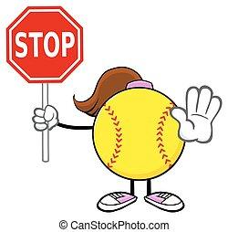 softball, holde inde, holde, tegn