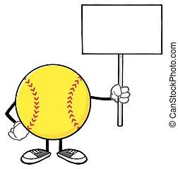 Softball Holding A Blank Sign - Softball Faceless Cartoon...