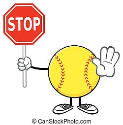 Softball Holding A Stop Sign