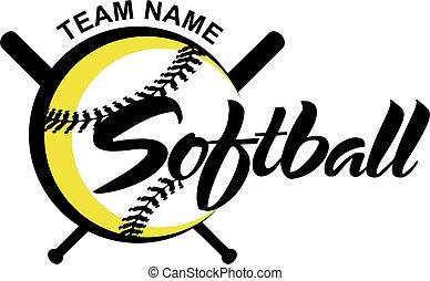 softball - stylized softball team design with ball and bats...