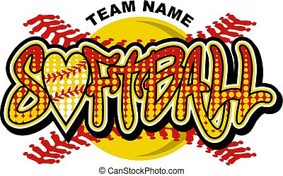 softball team design with heart shaped ball and stitches for...