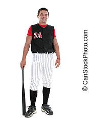 softball játékos, alatt, egyenruha, noha, üt