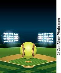 Softball on Softball Field Illustration