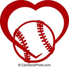 Softball or Baseball Heart - Red stylized softball or...