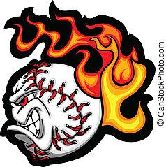 softball, ou, basebol, rosto, flamejante, v