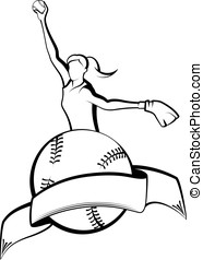 Softball Pitcher with Ball & Banner