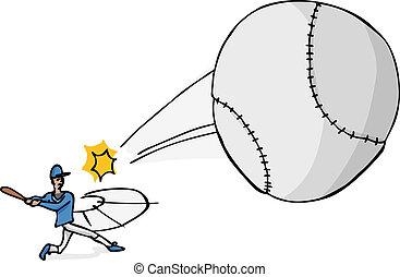 Softball Player Hits the Ball - Illustration of a softball...