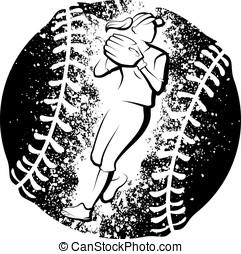 Softball Player Throwing Grunge