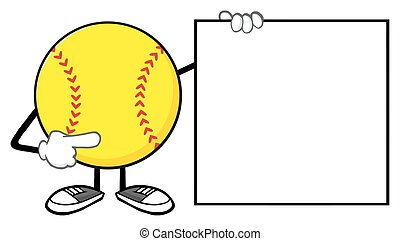 Softball Pointing To A Blank Sign