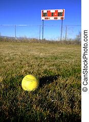 Softball Scoreboard on Playing Field Diamond Sports