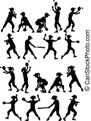 softball, silhouette, baseball, bambini