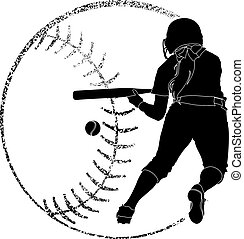 Softball Silhouette Bunt - Softball silhouette of a softball...