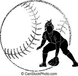 Softball Silhouette Fielder - Softball silhouette of a...