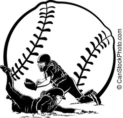 Softball Slide - Black and white vector illustration of a...