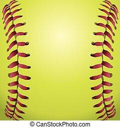 softball, snørebånd, closeup, baggrund