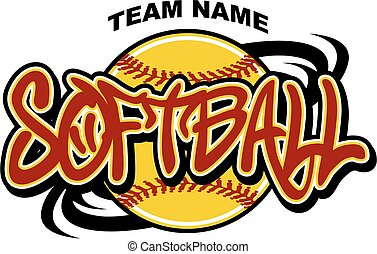 softball team design with ball and swishes for school,...