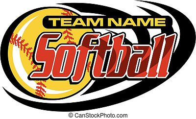 softball team design with ball and swishes for school, ...