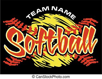 softball team design with stitches for school, college or...
