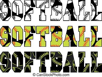 Illustration of a softball design with the word softball and balls embedded in the text.