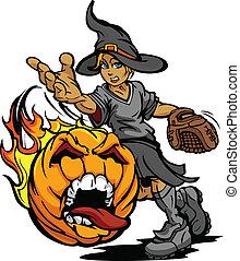 Softball Tournament Art of a Flaming Screaming Halloween...