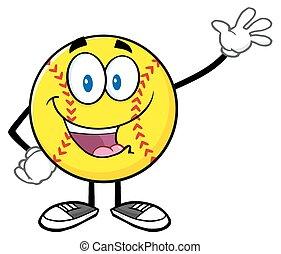 Softball Waving For Greeting