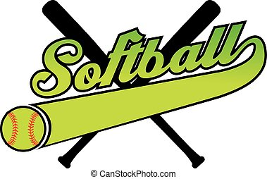 Softball With Banner and Ball - Illustration of a softball...