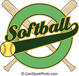 Softball With Tail Banner is an illustration of a softball ...