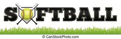 Softball Word Art Illustration - The word SOFTBALL written...