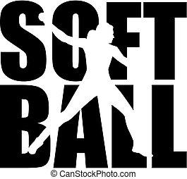 softball, wort, mit, silhouette, freisteller